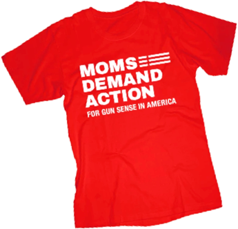 A Moms Demand Action red shirt