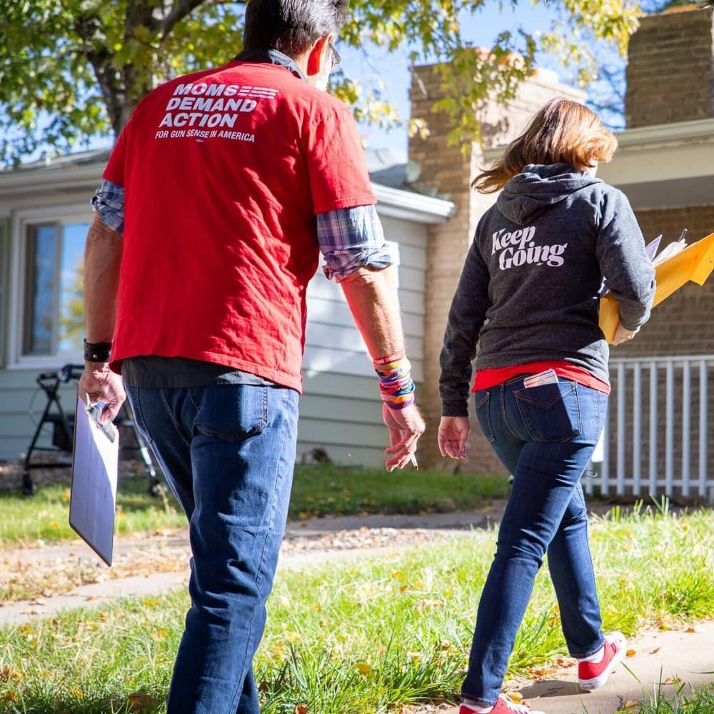 Moms Demand Action volunteers canvasing door to door