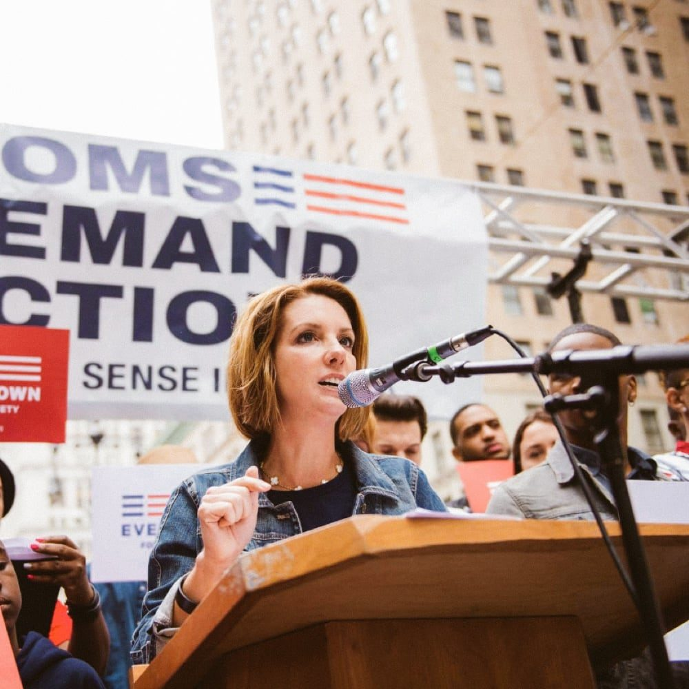 Moms Demand Action founder, Shannon Watts, speaking at a podium