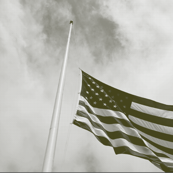 America flag at half staff
